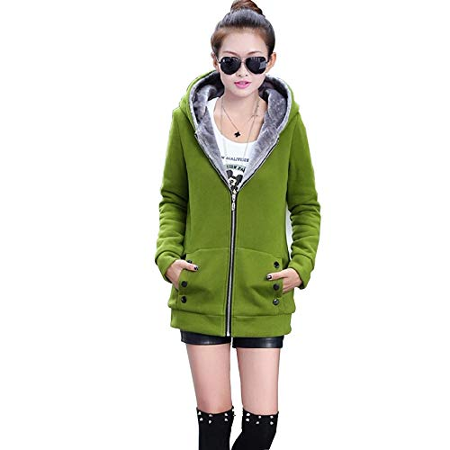 Leomodo New Fall and Winter Clothes Thick Velvet Hoodies Sweatshirt Woman Coats Green