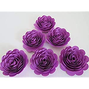 "Orchid Purple Roses, 3"" Paper Flowers, Set of 6 Pretty Wedding Flowers, Bridal Shower Decor, Princess Theme Tea Party Decorations, Birthday Party Supplies 12"