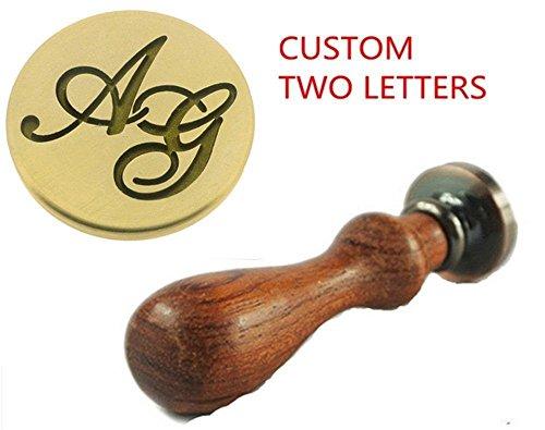 MDLG Vintage Custom Made Zwei Buchstaben Personalisierte Buchstabe Logo Hochzeit Einladung Wachs Siegel Stempel Palisander Griff Set