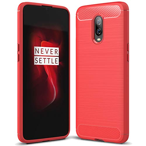 OnePlus 6T case, Sucnakp TPU Shock Absorption Technology Raised Bezels Protective Case Cover for OnePlus 6T Smartphone (Red)