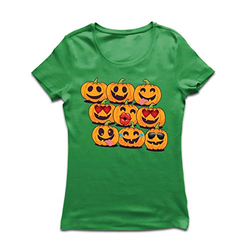 lepni.me Women's T-Shirt Pumpkin Emoji Funny Halloween Party Costume (Small Green Multi Color)