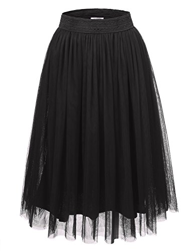 JJ Perfection Women's Tulle Layered A-Line Long Midi Party Skirt CHARCOAL 3XL