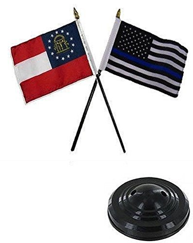 (ALBATROS Georgia State with USA Police Blue 4 inch x 6 inch Flag Desk Set Table Stick with Black Base for Home and Parades, Official Party, All Weather Indoors Outdoors)