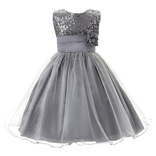 Csbks Little Girl Flower Sequin Princess Tulle Party Dress Birthday Ball Gowns 8 Gray