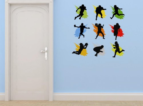 Vinyl Wall Decal Sticker : Football Sports Team Player Running Kicking Throwing Passing Mens Boys Kids Bedroom Bathroom Living Room Picture Art Peel & Stick Mural - Discounted Sale Price Size: : 12 Inches X 12 Inches - 22 Colors Available - Kicking Photo