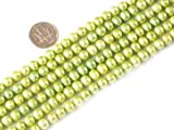 6mm Potato Shape Green Freshwater Cultured Pearl Beads Strand 15 Inch Jewelry Making Beads