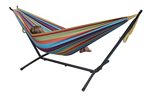 Vivere Double Cotton Tropical Hammock with Stand - Multi-Colour