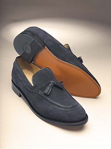 Samuel Windsor Men's Handmade Goodyear Welted Italian Leather Tasselled Loafer Shoes in Black, Tan Brown, Sand & Navy Blue Suede. Blue Suede