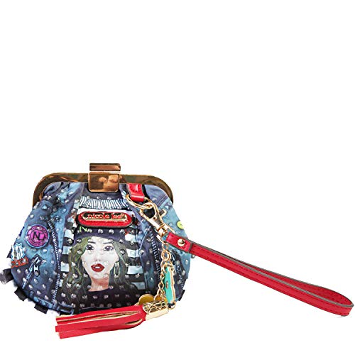 Printed Wristlet Coin Purse with Kiss Lock Closure (Paola Is Tomboy) (Nicole Lee Handbags And Purses)