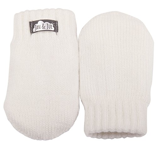Baby toddler girl warm fleece lined thumbless knit mittens for fall winter...