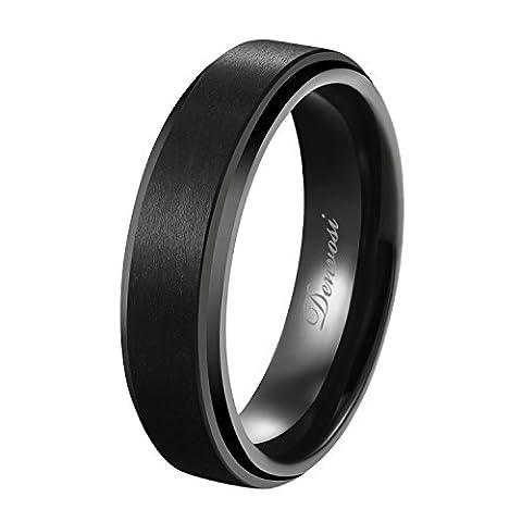Denvosi Tungsten Carbide Ring for Men 6mm Minimalist Black Matte Brushed Surface High Polished Beveled Edges Inner Face Wedding Bands Anniversary Engagement Ring Comfort Fit Size 10