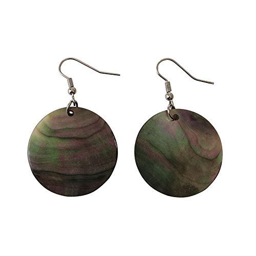 Girl's Women's Fashion Round Natural Shell Drop Earrings (Green) -