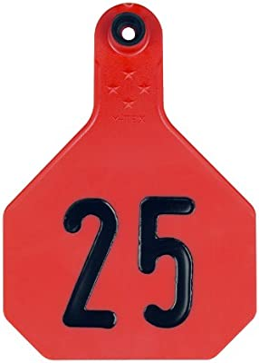 4 Star Large Red Cattle Ear Tags Numbered 26-50