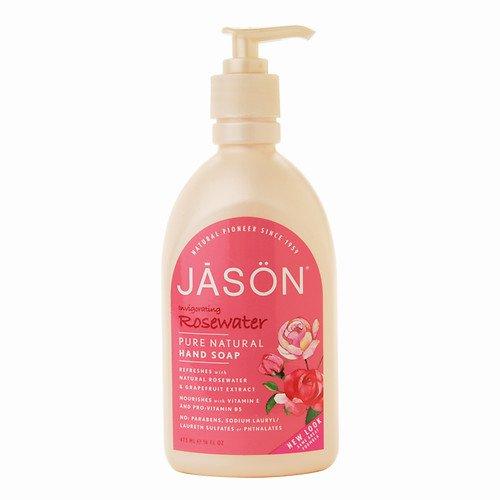 JASON Satin Pure Natural Hand Soap, Glycerine & Rosewater 16 oz (473 ml) -Pack 4