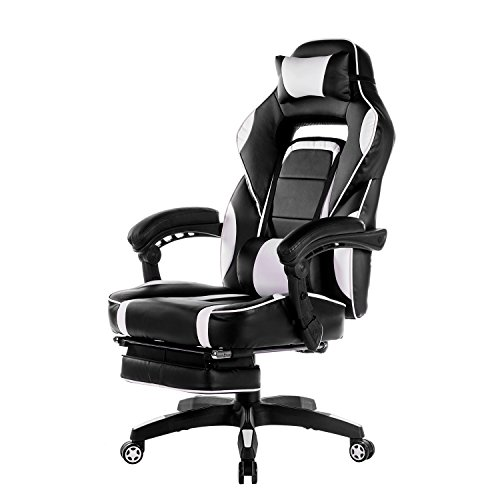 Merax High-Back Racing Home Office Chair, Ergonomic Gaming Chair with Footrest, PU Leather Swivel Computer Home Office Chair incluing Headrest and Lumbar Support (white)