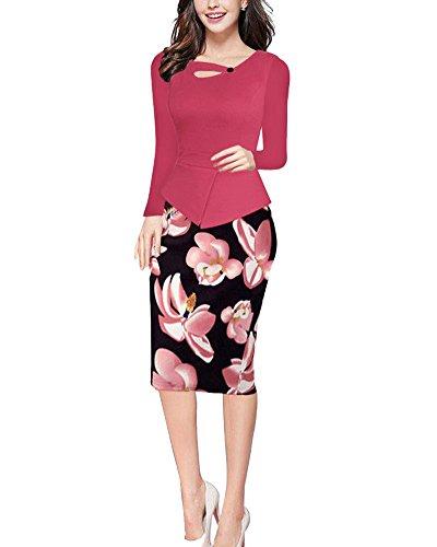 Vestido Floral Cutaway de Mujer Vintage Negocios Cóctel Fiesta Bodycon Vestidos Mangas Largas Rosa 2XL