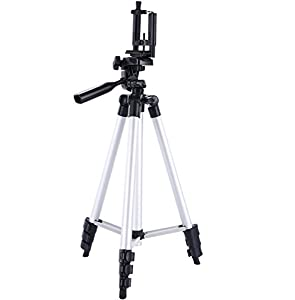 DIGIANT 50 Inch Aluminum Camera Tripod + Universal Tripod Smartphone Mount for Apple, Iphone Samsung and Other Brands Smartphones (with Remote)