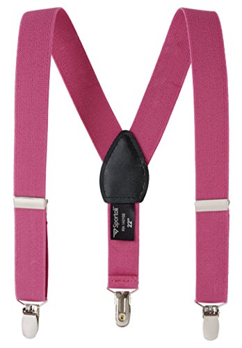 Fuchsia Leather Insert - Suspenders for kids Baby Adjustable Elastic Solid, Striped, and Polka Dot Suspenders - Fuchsia (26 Inch)