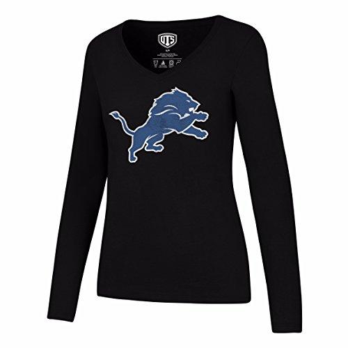 OTS NFL Detroit Lions Women's Rival Long Sleeve Tee, Distressed Logo, Large