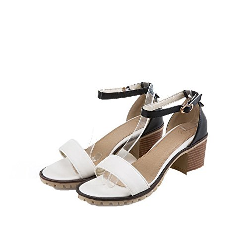 Pu Assorted Sandals Toe Open Heels White Buckle Color Kitten Women's WeenFashion wPOT0xYZ