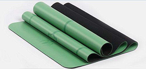 Premium Wet-grip Yoga Mats Printed Guided Alignment Line Eco-friendly,Great Cushioning ,Non-slip Travel Mat with Matching Bag