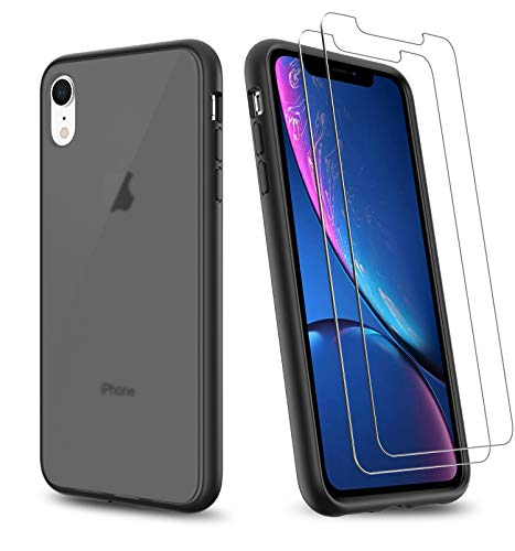 UNIWILAND 2-in-1 iPhone XR Case with 2 Packs Screen Protector, Matte Black Clear Back Drop Protection Frosted Case & HD Tempered Glass Screen Protector for iPhone XR (Black)