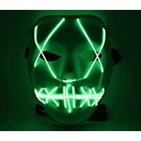 Upolymall LED Grimace Horror Glowing Mask Party Mask, Cold Light Ghost Walk Holiday Party Mask, Halloween Role Dress Up Cool Mask(Fluorescent Green)