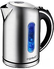 Aigostar King 30CEA - Bollitore elettrico in acciaio inossidabile con illuminazione a LED, 2200 Watt con capacità da 1.7 litri, Protezione a bocca secca, BPA Free. Design esclusivo.