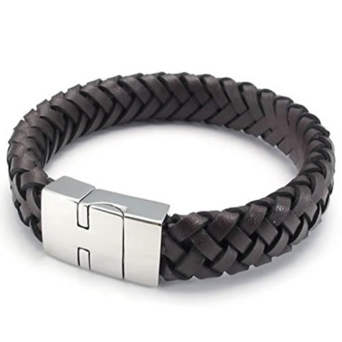 Epinki Stainless Steel and Leather Bracelet, Mens Round Bracelet Brown Length 8.5 - Kandi And Round Brown