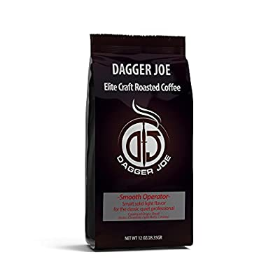 """Dagger Joe Coffee Light Roast Ground Coffee """"Smooth Operator"""", Chocolate Notes, Nutty, Creamy Flavor & Rich Aromas, Hand Selected & Roasted Beans, For Coffee Lovers, Pour Over, French Press & More"""