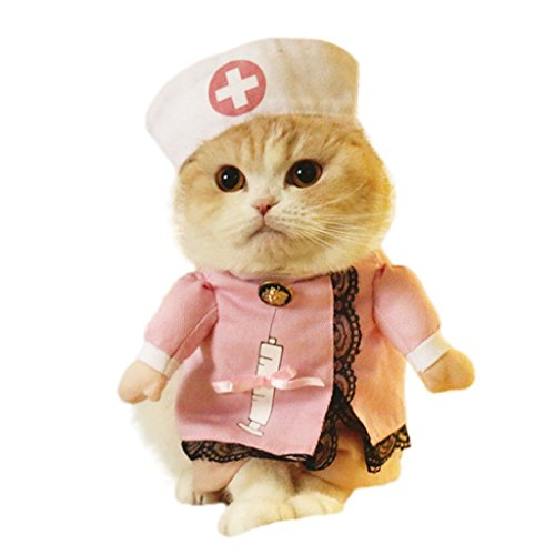 Pet Costume for Small Dogs and Cats Pet Costume Funny Pet Clothes for Halloween Christmas Dress Up Cosplay Nurse 2 -