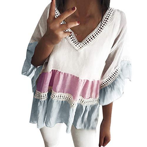 GHrcvdhw Women's Summer T-Shirt V Neck Crochet Loose Contrast Hollow Mesh Splicing Blouses Purple