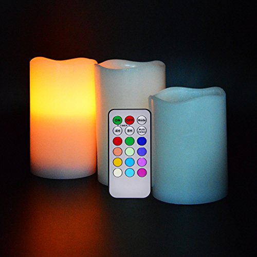 ShineMe®LED Color Changing Candle Lights Timing Cordless Candle Electric Candles with 10 Keys IR Remote Control Lights Decorated Flameless Multi-purpose Lamps Event Festival Parties Light for Pub KTV Bedroom Indoor&Outdoor with Romantic&Comfortable Atmosphere (White)