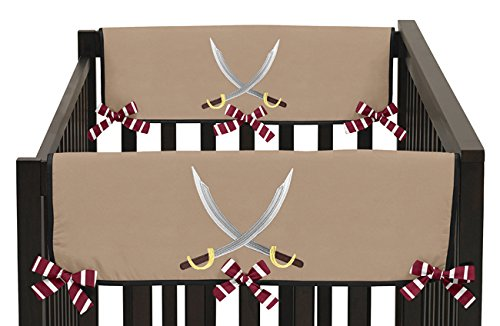 Sweet Jojo Designs 2-Piece Treasure Cove Pirate Teething Protector Cover Wrap Baby Crib Side Rail Guards (Pirates Cove Hamper)