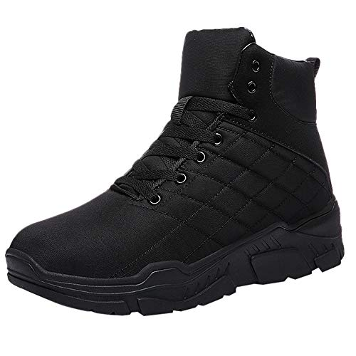asual Men's Outdoor Winter Plus Velvet Anti-Skid High-Top Motorcycle Boots ()
