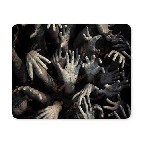 InterestPrint Halloween Theme Ghost Zombie Bloody Hand Rectangle Non Slip Rubber Mouse Pad Gaming Mousepad Mat for Office Home Woman Man Employee Boss Work with Designs -