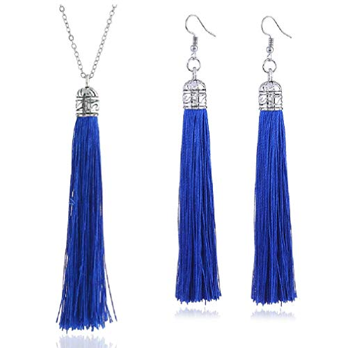 - Tuoke-peri Colorful Long Tassel Necklace Dangle Earrings Bohemian Drop Pendant Jewelry Sets for Women and Girls (6 Blue)