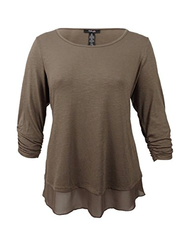 Style & Co. Womens Heathered Mixed Media Pullover Top Brown M by Style & Co.