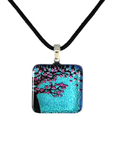 (Cherry Blossom Tree Dichroic Glass Pendant with Black Cord Necklace, Adjustable 16-18 Inches )