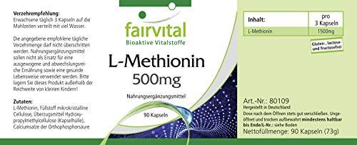 L-Metionina 500mg - VEGANO - ALTA DOSIS - 90 cápsulas - Aminoácido: Amazon.es: Salud y cuidado personal