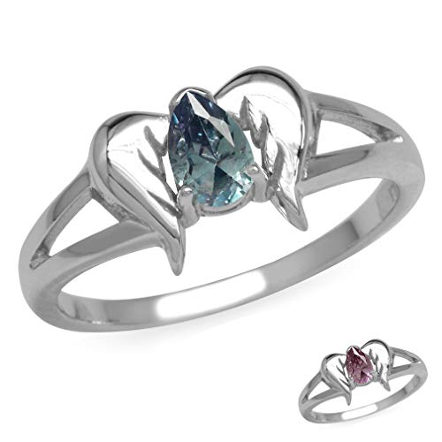 Silvershake 925 Sterling Silver Angel Wings Gemstone Ring