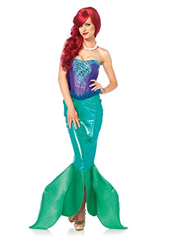 Leg Avenue Women's Deep Sea Siren Mermaid Costume, Green/Purple, Large