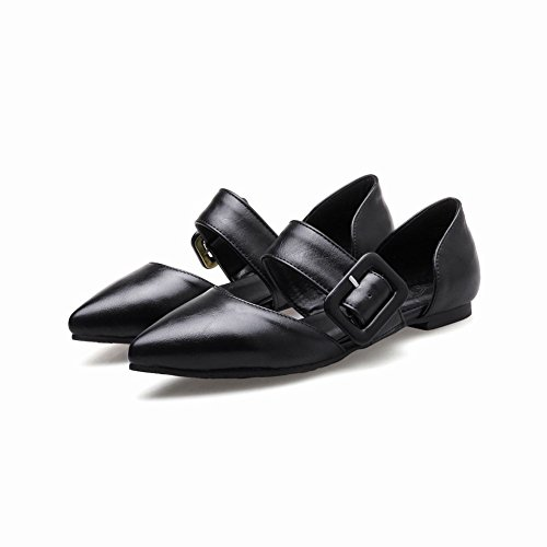 d7f28b2b767d Mee Shoes Damen flach spitz Schnalle Geschlossen Pumps Schwarz ...