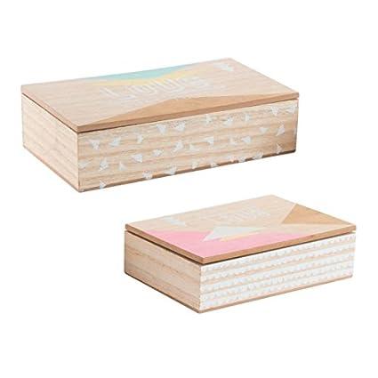 Dcasa - Cajas Decoradas Scandi de Madera Color Pastel Set 2 Caja