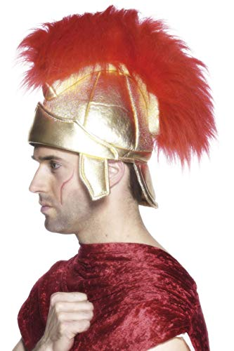(Smiffys Men's Roman Soldier Helmet, Fabric, Gold, One Size,)