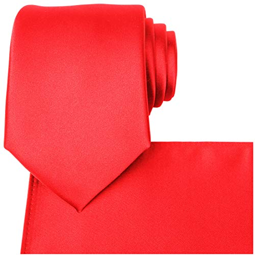 KissTies Red Tie Set Mens Necktie + Pocket Square + Gift Box