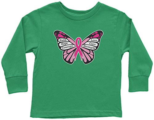 Threadrock Little Girls' Breast Cancer Awareness Butterfly Toddler Long Sleeve T-Shirt 5/6 Kelly Green -