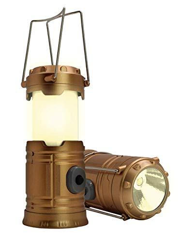 Royal Brands LED Collapsible Light Multi-Function Mini Camping Lantern, Portable Lantern Flashlights, Fishing Torch, Led+Emergency Light Battery Operated Powered Camp Lights (Bronze) ()