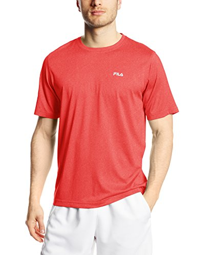 Crew Mens Tennis Shirt (Fila Tennis Men's Short Sleeve Crew Shirt, Chinese Red/Heather, XX-Large)