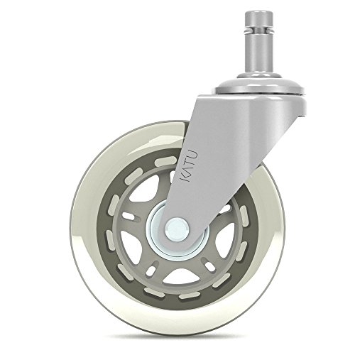 Katu Rollerblade Office Chair Wheels Casters Rubber Replacement - Set of 5 - Safe for All Floors - Universal Stem Fit Most Chairs. Color Chrome & Gray Star. T01CGS